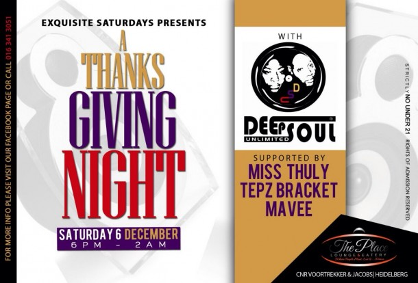 A ThanksGiving Night with DeepSoul Unlimited @ThePlace Lounge & Eatery #Heidelberg